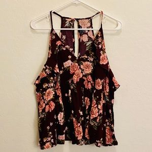 American Eagle Outfitters floral cold shoulder top